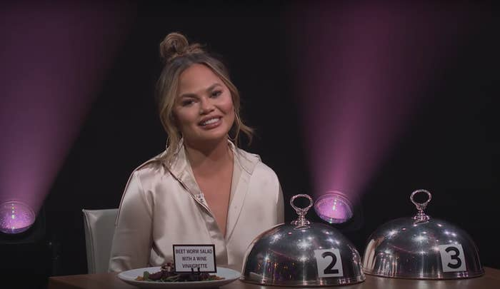 Chrissy Teigen during her Spill Your Guts appearance