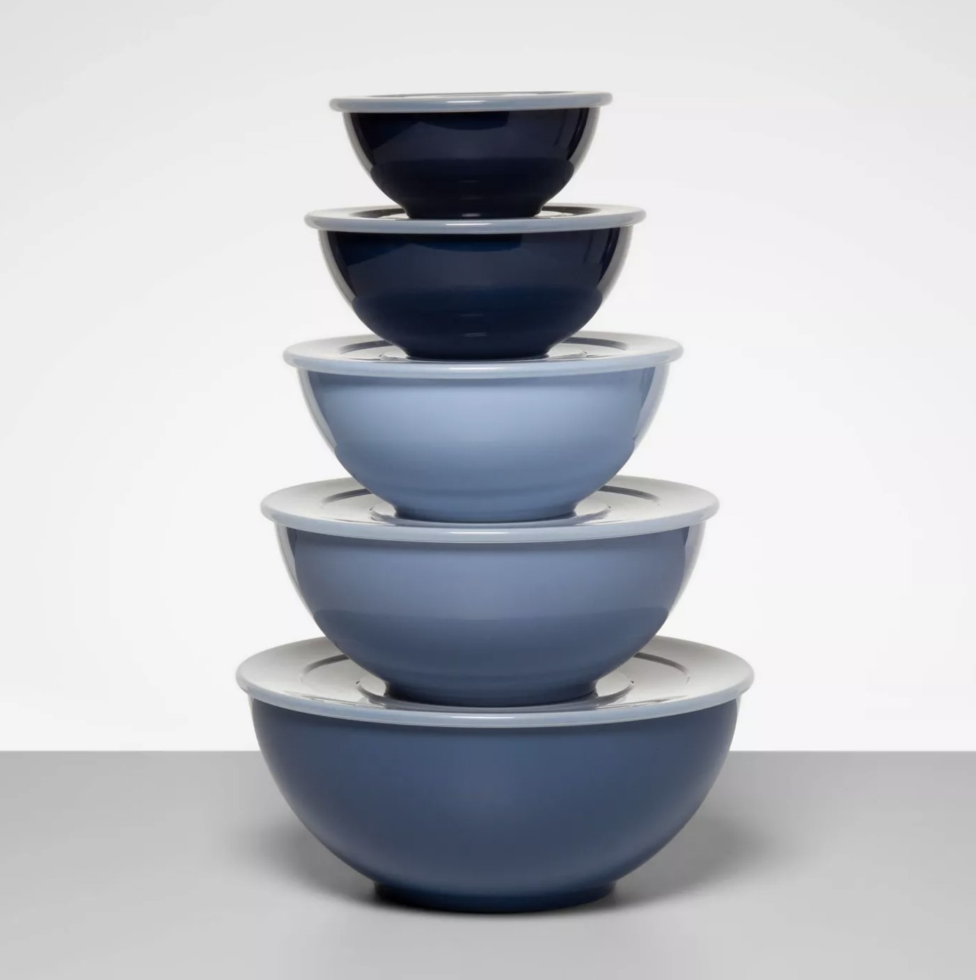 The blue mixing bowls
