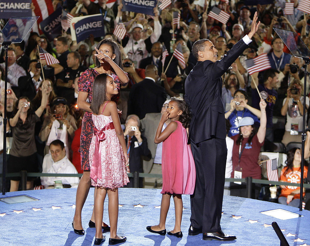 The Obama family waving to the crowd at the Democratic National Convention