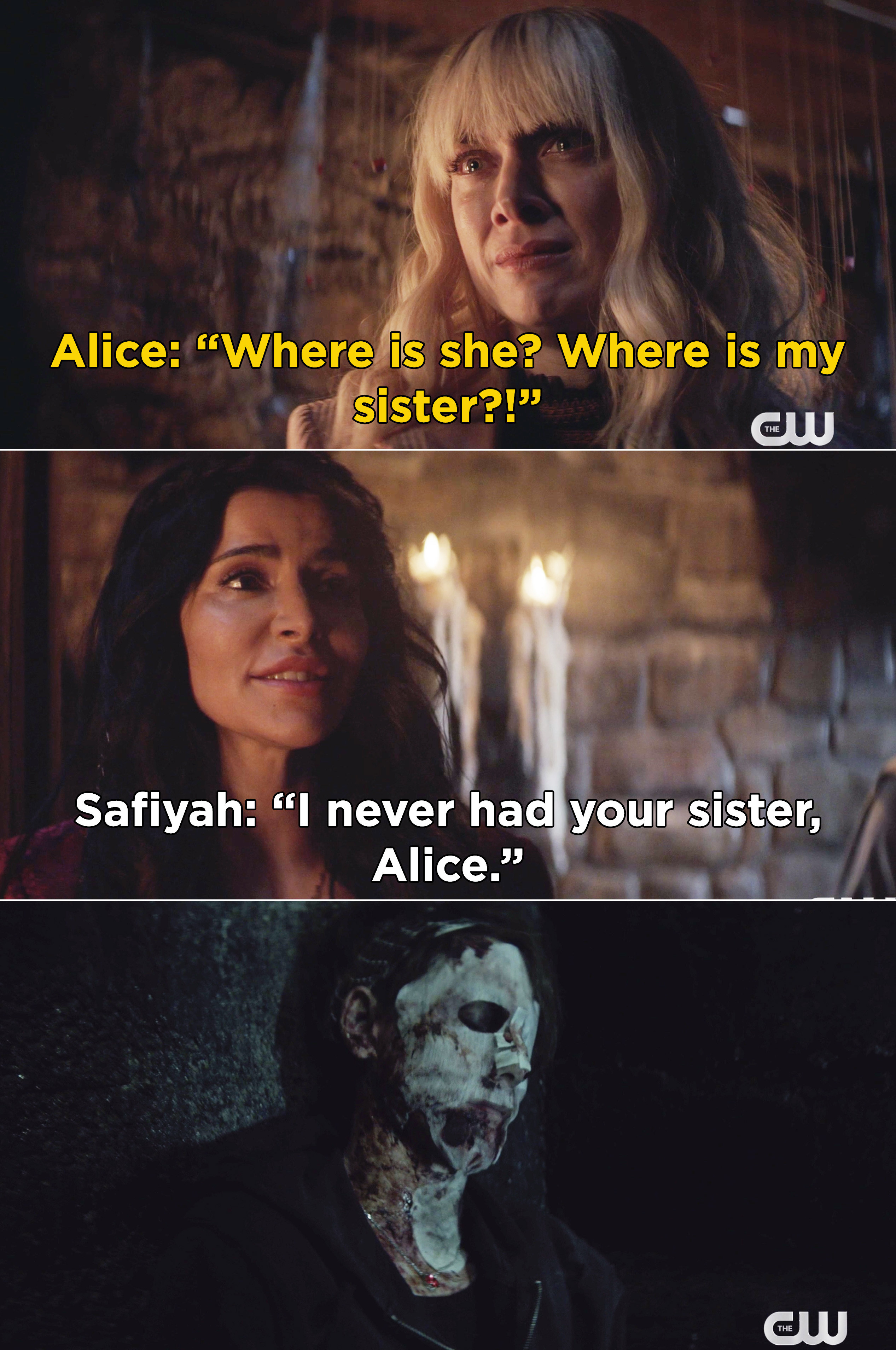 Alice weeping as Safiyah tells her she never had Kate
