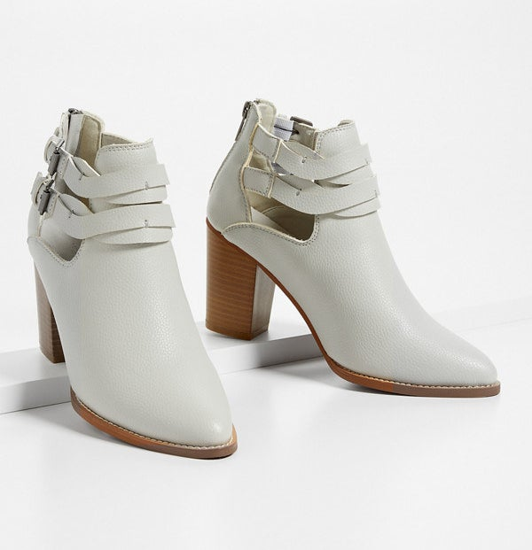 the stacked heel booties with buckle details
