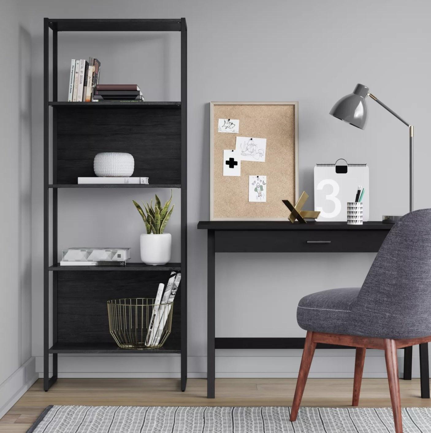 A black wooden desk