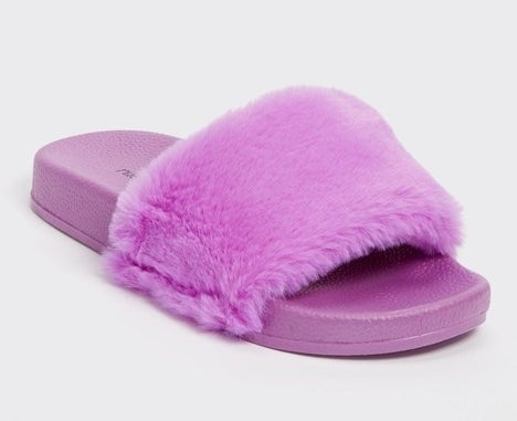 purple slide with rubber bottom and thick fuzzy strap