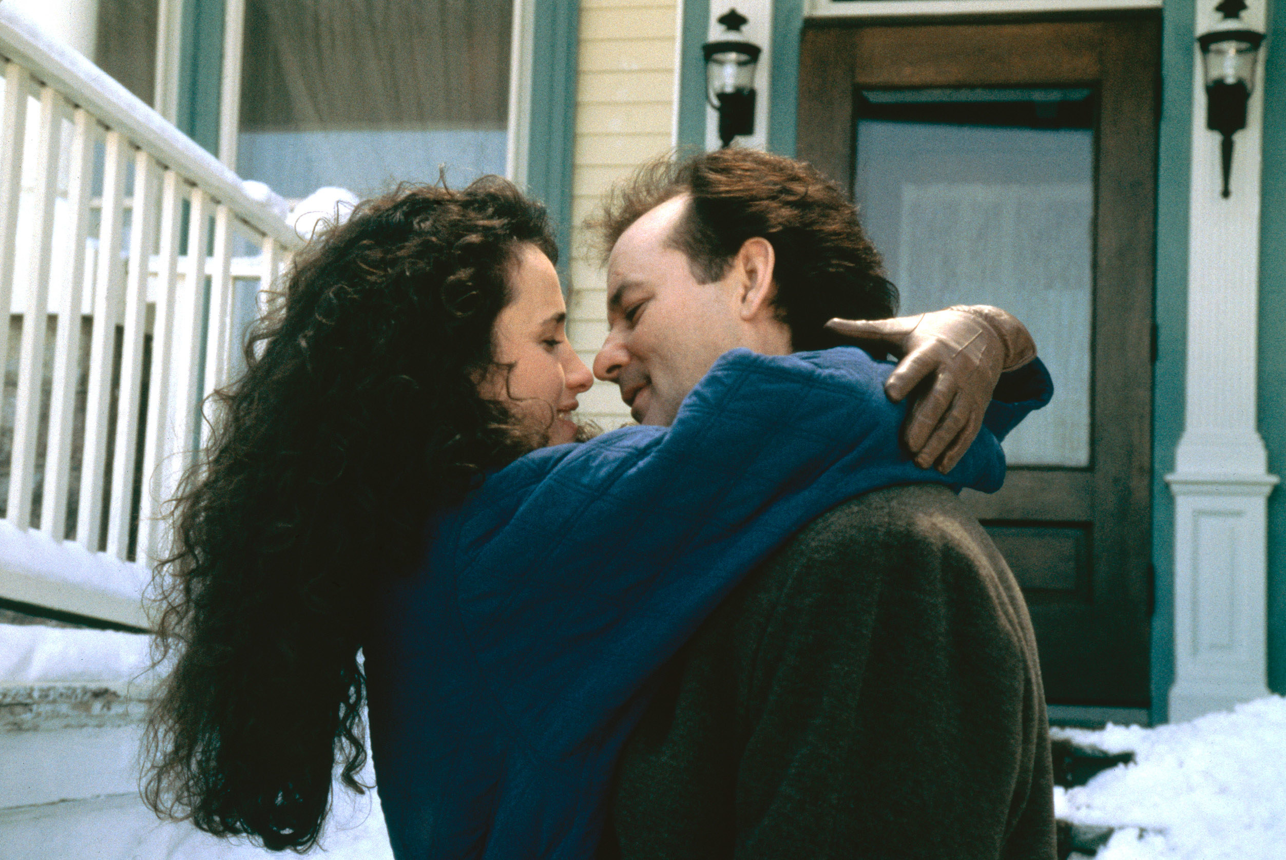"""Andie MacDowell and Bill Murray in a romantic embrace in """"Groundhog Day"""""""