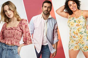 A person wearing a cropped blouse with a floral print, A person wearing a button up shirt with jeans,  A person wearing a floral-printed romper