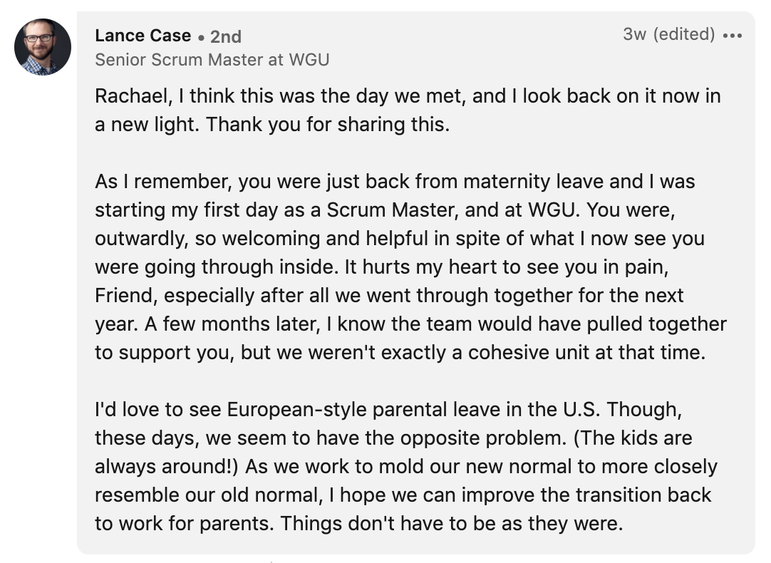 """One person said, """"Rachael, I think this was the day we met, and I look back on it now in a new light. Thank you for sharing this"""""""