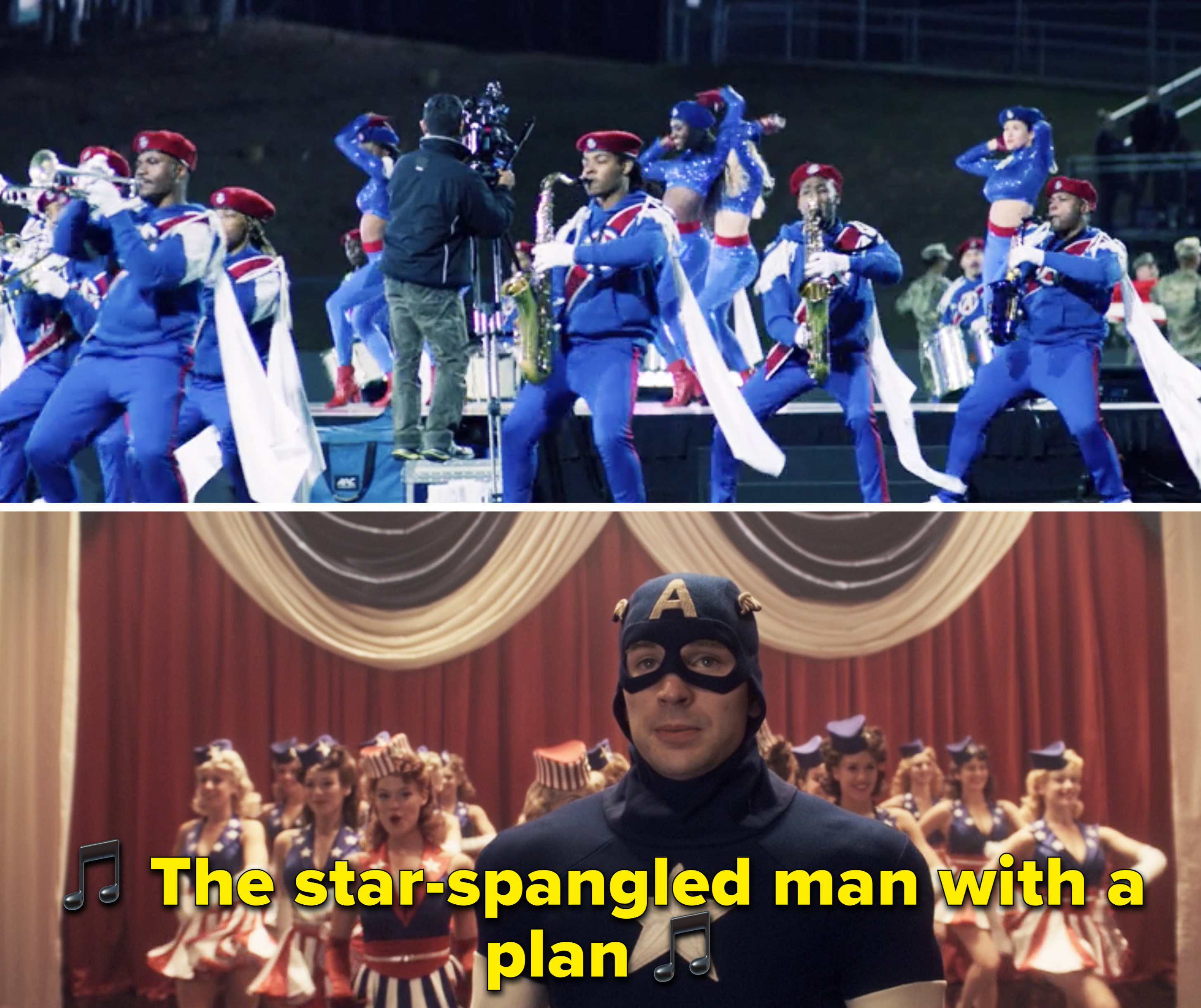 A marching band playing music vs. Captain America talking on stage