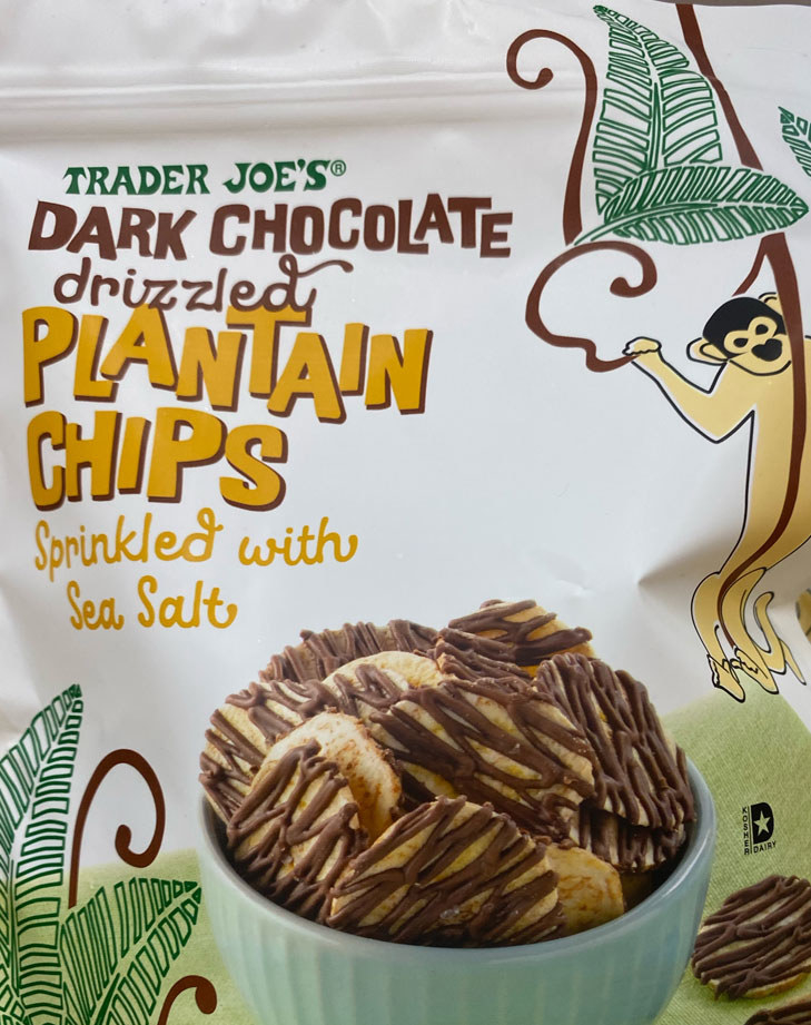 Dark Chocolate Drizzled Plantain Chips With Sea Salt