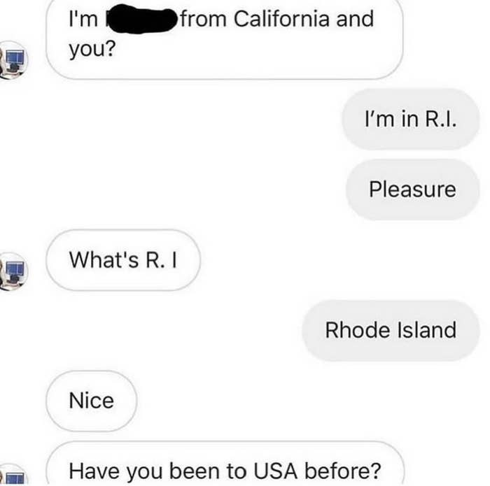 instagram convo of two americans where one asks if rhode island is in the united states