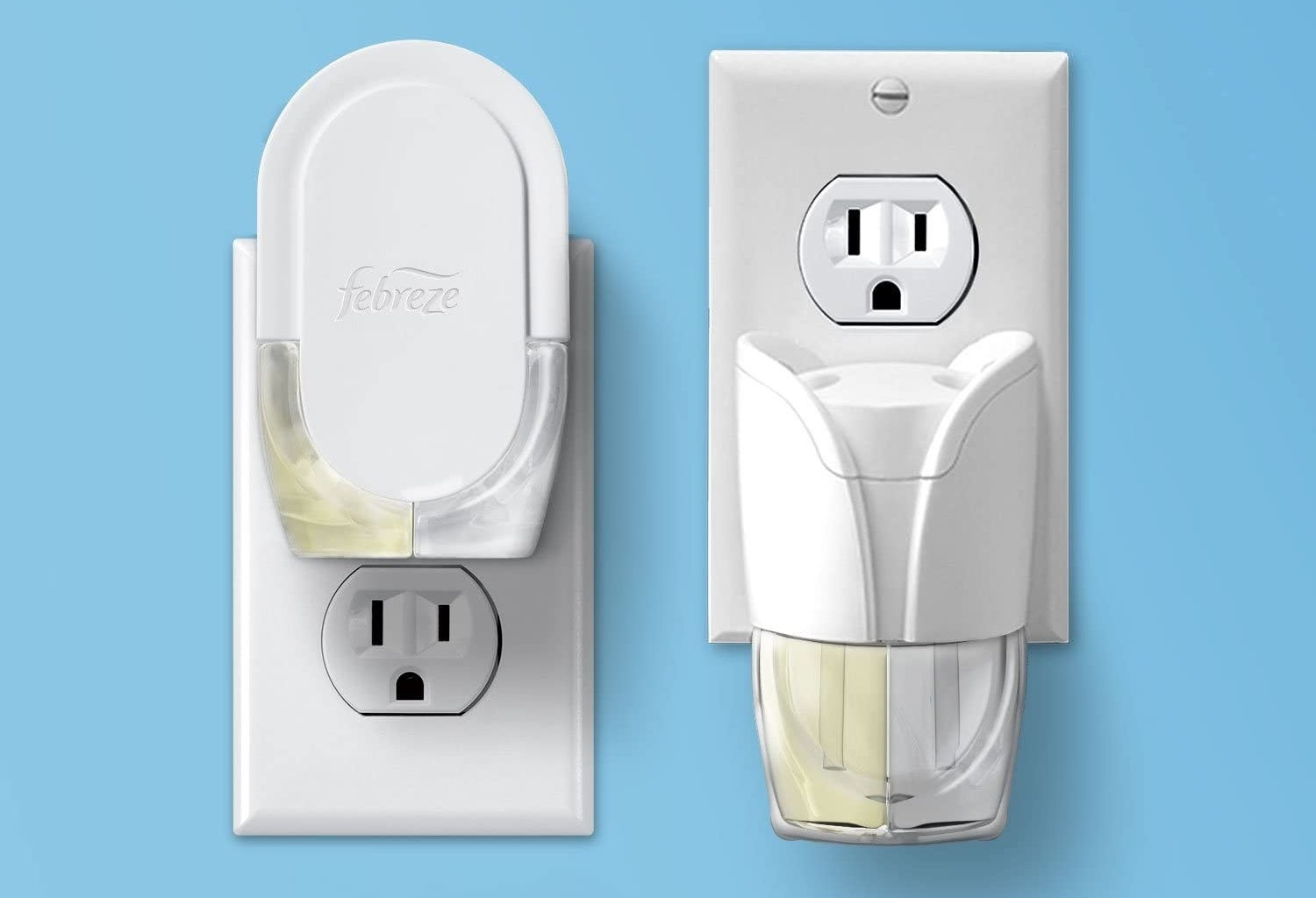 Two air freshening plug-ins plugged into outlets