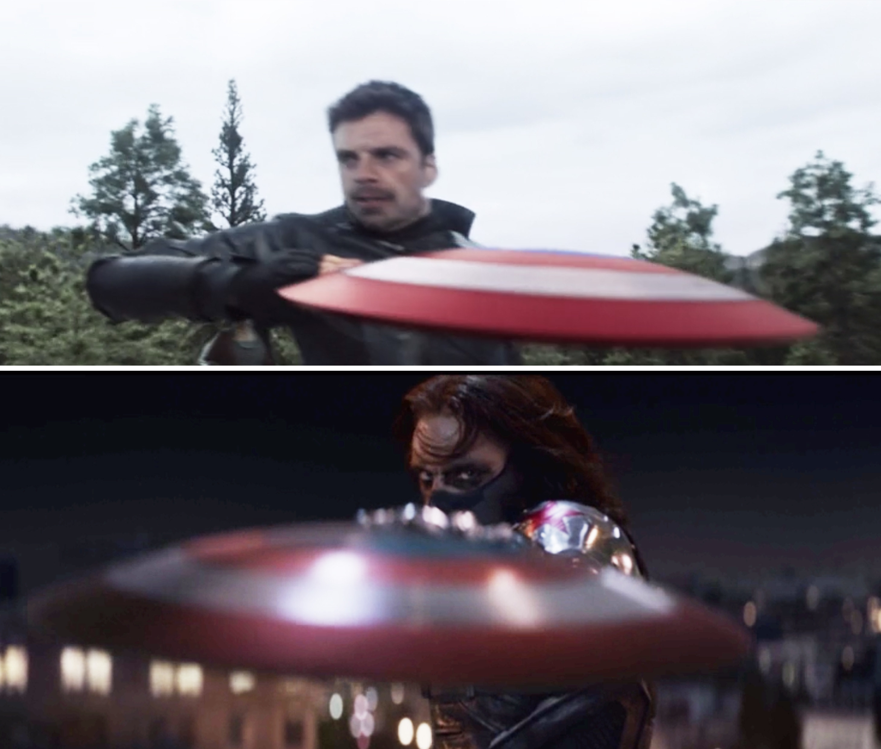 Bucky catching Captain America's shield with his hand