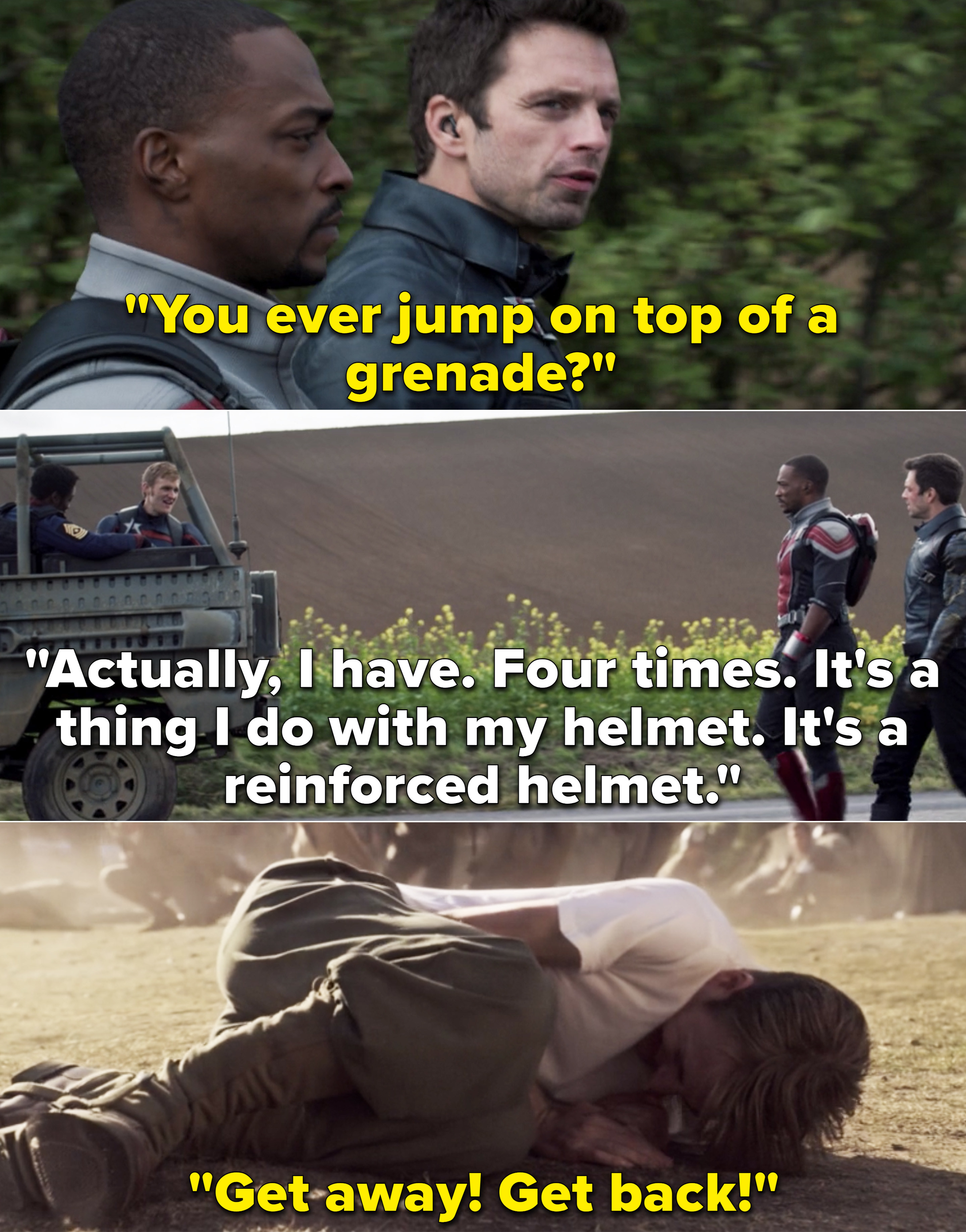 """Bucky saying, """"You ever jump on top of a grenade?"""" vs. Steve on top of a grenade and yelling """"Get away! Get back!"""""""