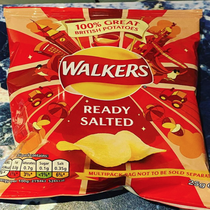 A bag of Walkers potato chips with a logo that looks like a sun and a red ribbon going across it with specific similar font to Lay's