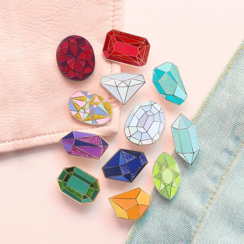 the large gemstone shaped pins