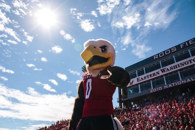 """Eagle mascot wearing """"Eastern"""" jersey."""