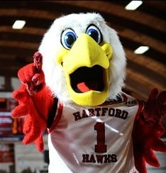 Howie the Hawk white bird mascot with a yellow beak and red arms in a Hartford basketball jersey.