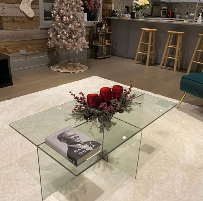 the glass table in a living room