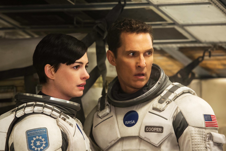 "Anne Hathaway and Matthew McConaughey as astronauts in ""Interstallar"""