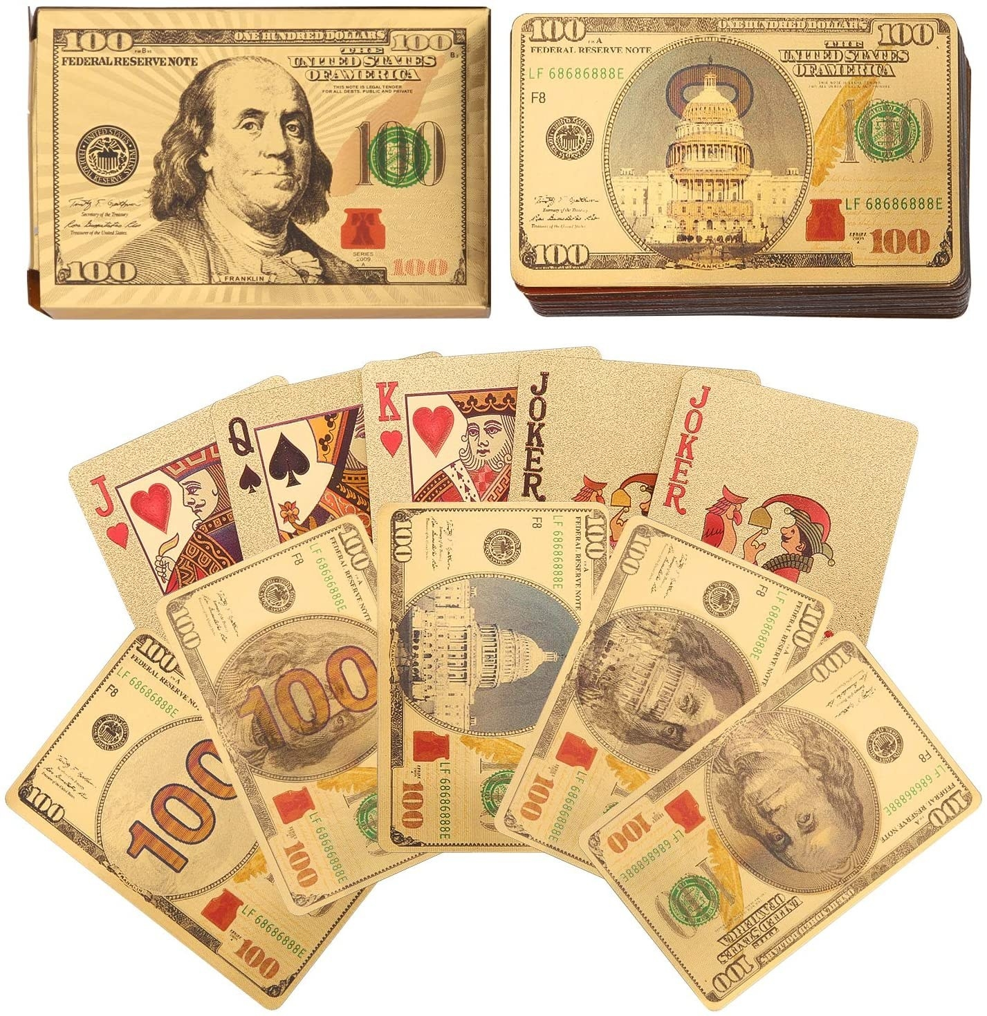 the gold cards with backs that look like hundred dollar bills