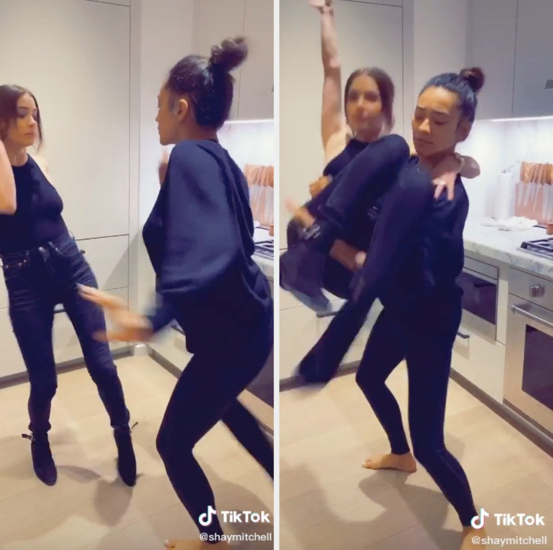 Ashley and Shay dancing together for a video on Shay's TikTok account