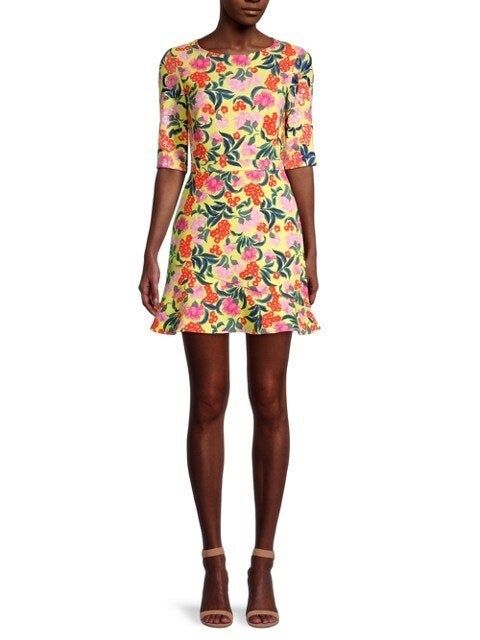 Crepe yellow, orange, and pink mini dress with elbow-length sleeves