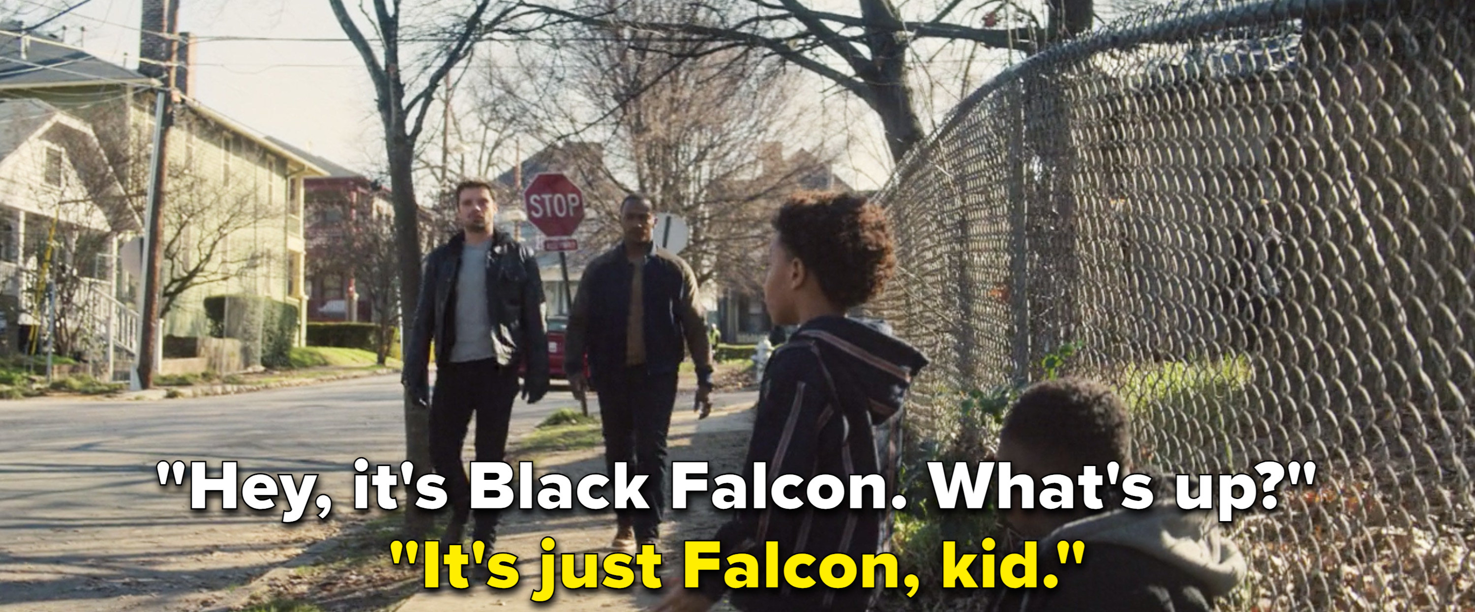 "Sam telling a kid, ""It's just Falcon"""