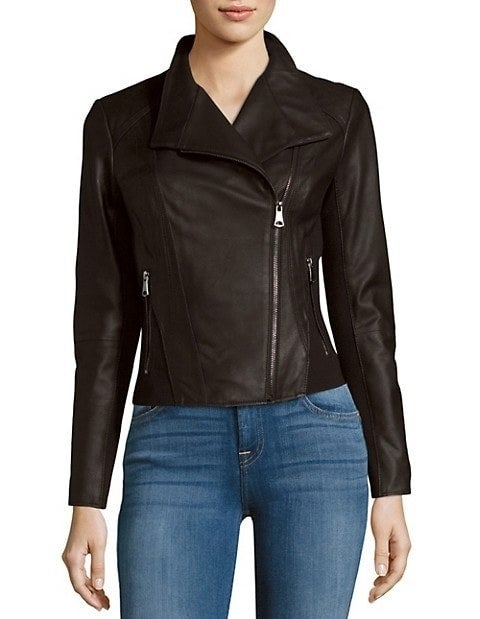 Black leather jacket with asymmetrical zipper and pockets