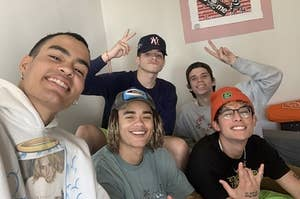 PRETTYMUCH posing for an adorable selfie