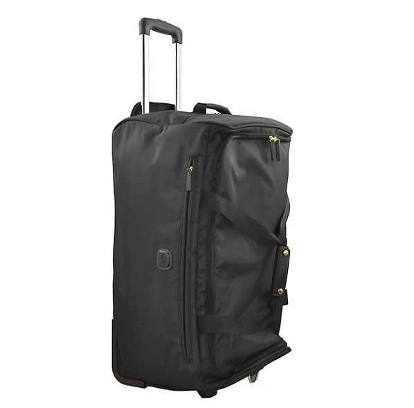 Black rolling duffel bag with two wheels, top handle, and 2 leather carrying handles