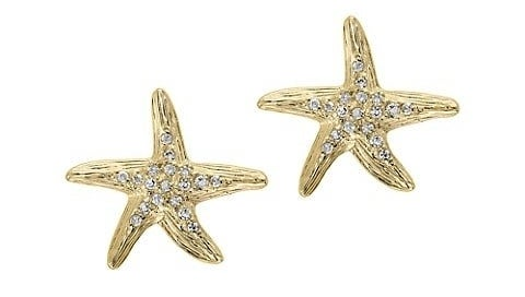 14k gold earrings with diamond accents and post back