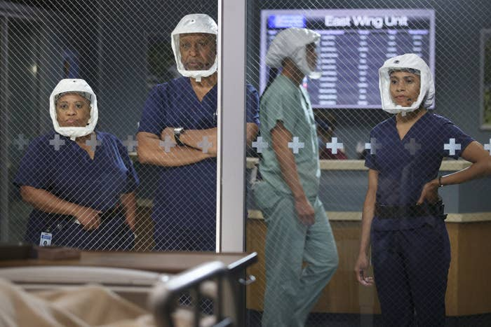 Chandra Wilson, James Pickens Jr., and Kelly McCreary wearing PPE in Grey's Anatomy