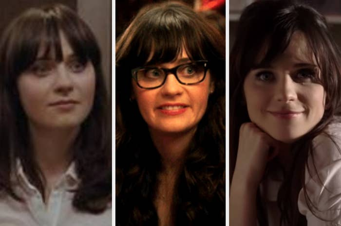 """Zooey Deschanel as Summer in 500 Days of Summer; Jess Day in New Girl; and herself in the """"In The Sun"""" music video"""