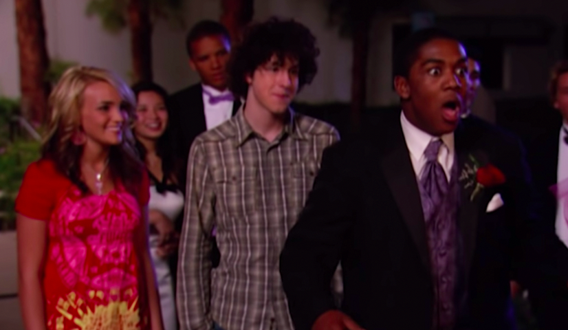 """Zoey, Chase, and Michael from """"Zoey 101"""" during prom night"""