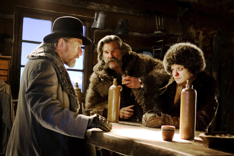"Tim Roth, Kurt Russell, and Jennifer Jason Leigh in ""The Hateful Eight"""