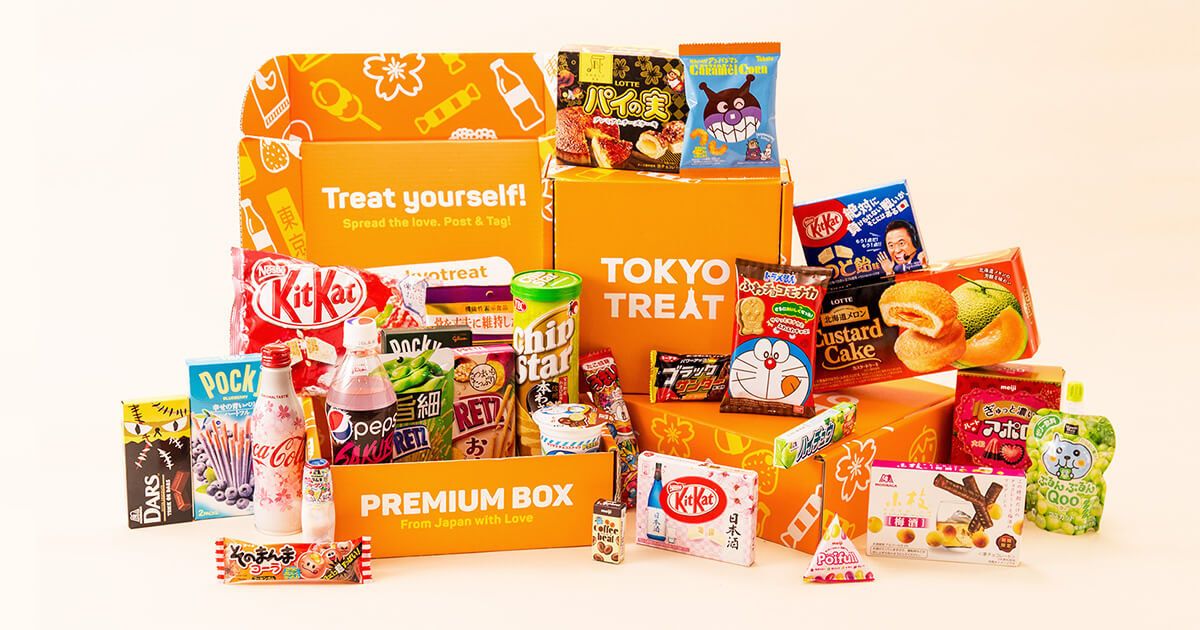 A Tokyo Treat box filled with snacks and other treats
