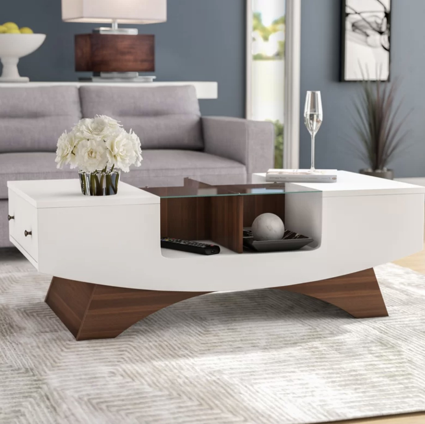 the coffee table in a living room in white