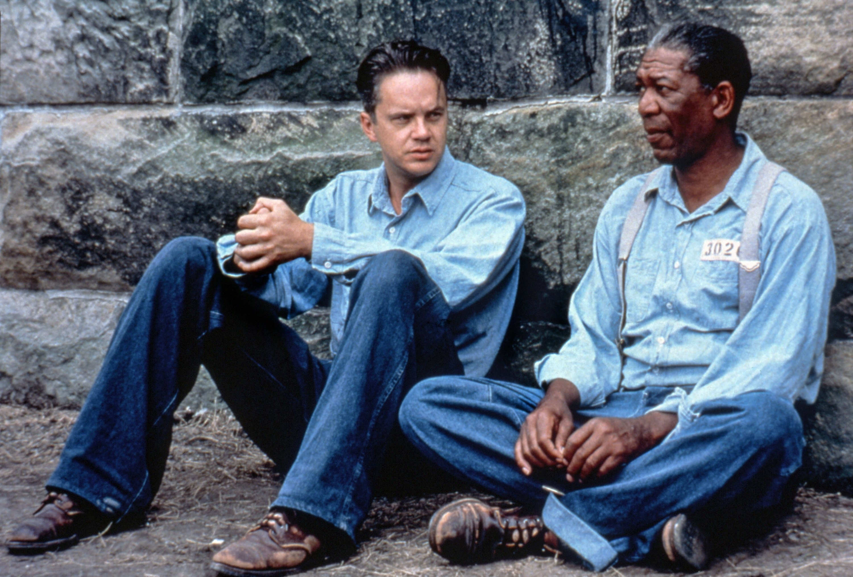 "Tim Robbins and Morgan Freeman in ""The Shawshank Redemption"""