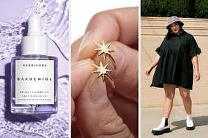 A serum / a star ring / a model in a black dress