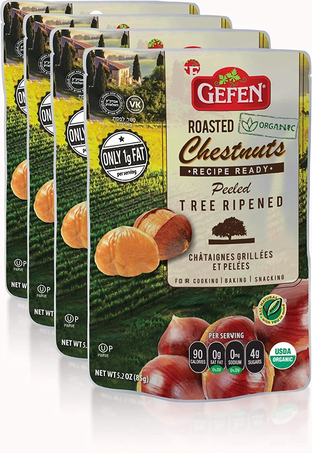 The chestnuts in their packaging