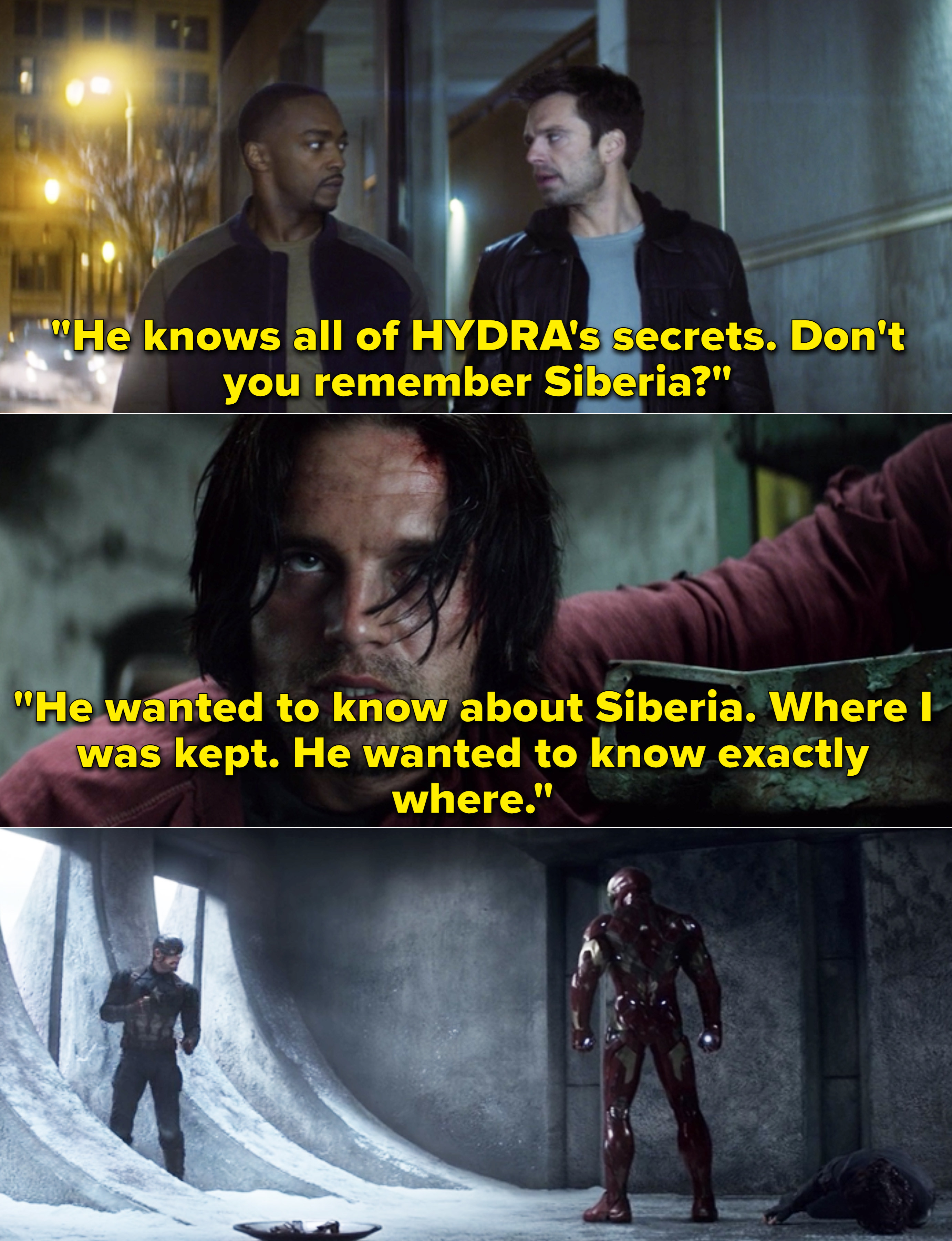 """Bucky saying, """"He knows all of HYDRA's secrets. Don't you remember Siberia?"""""""