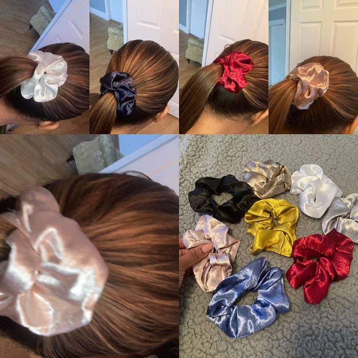 reviewer collage of pictures of them wearing a satin scrunchie in a high ponytail with each color