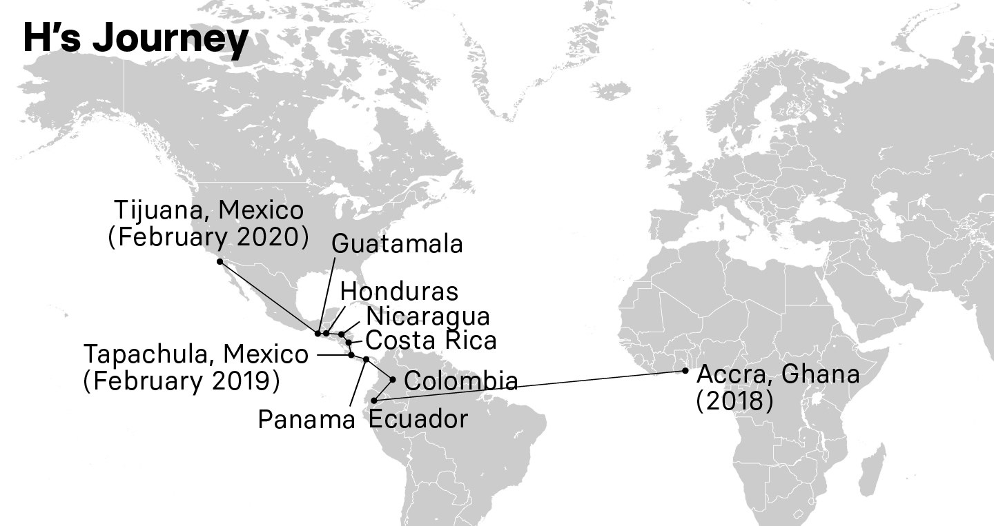 A map showing H's journey from Accra, Ghana, in 2018 through South and Central America to Tijuana, Mexico, in February 2020