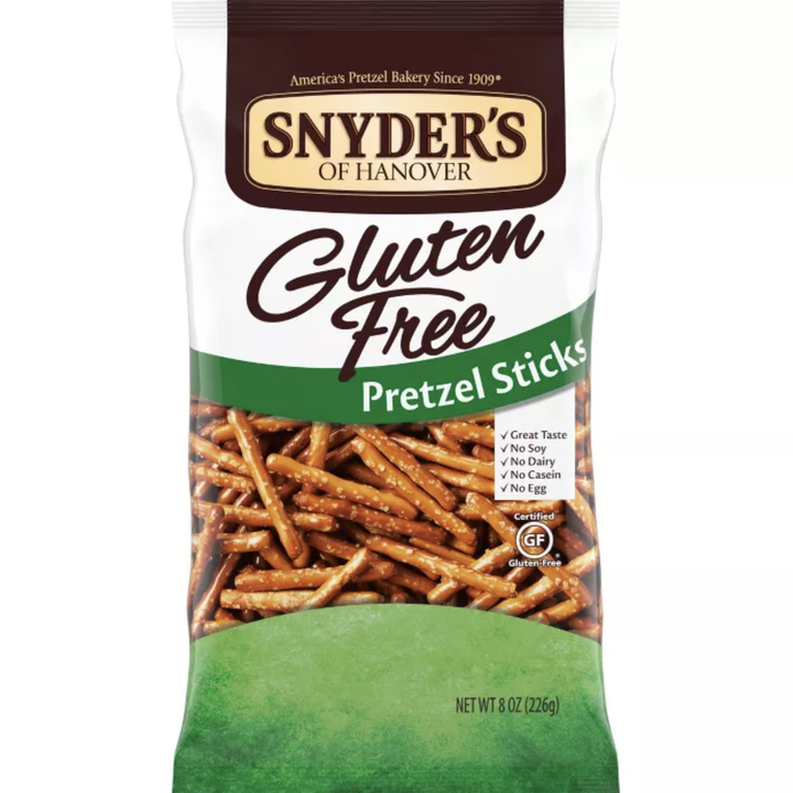 The pretzels in their packaging