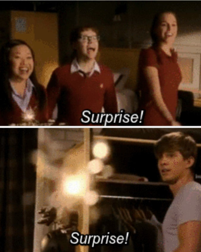 """Gabe, CJ, and Suki saying surprise to Ian for his birthday on """"Tower Prep"""""""