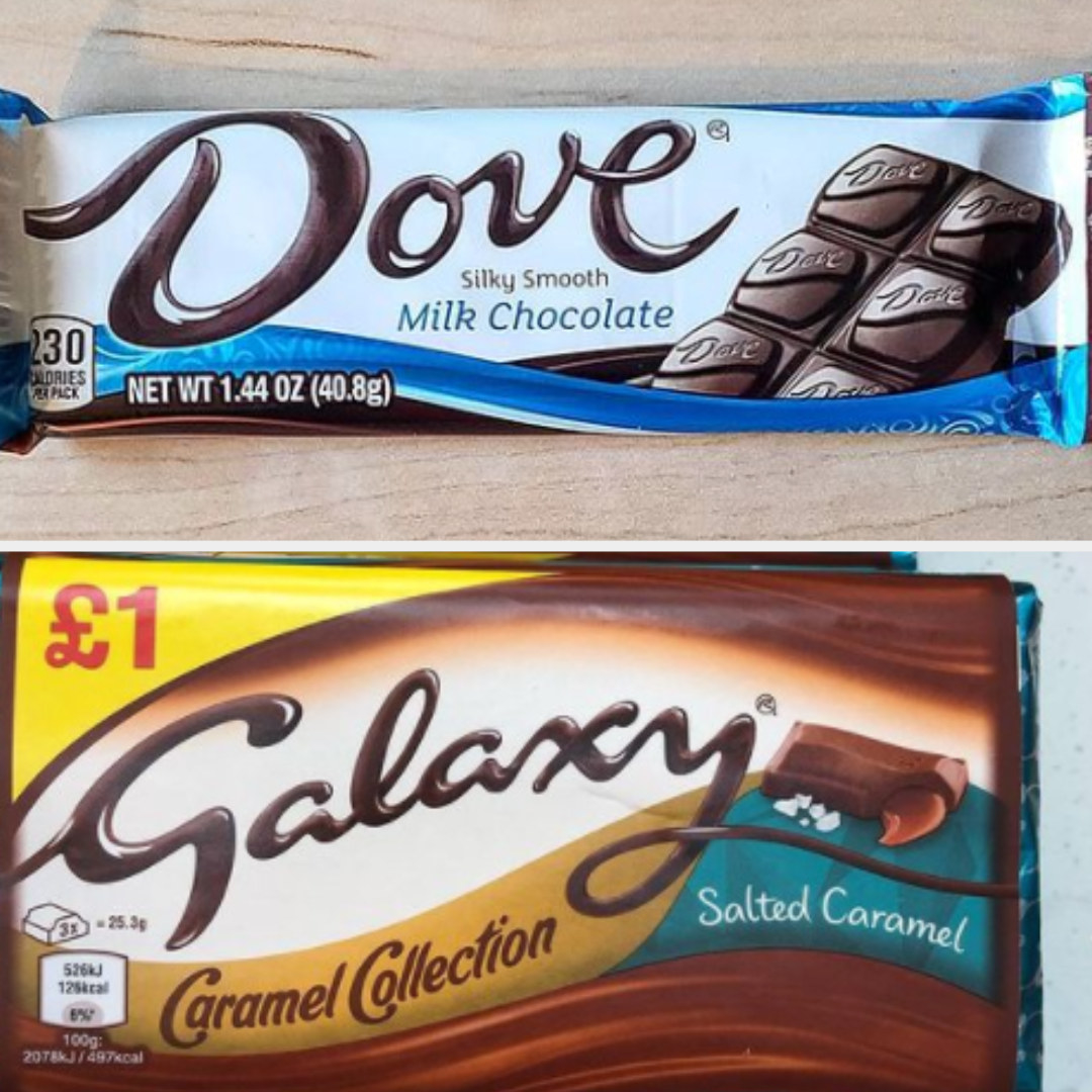 Dove and Galaxy chocolate bars with similar font and packaging