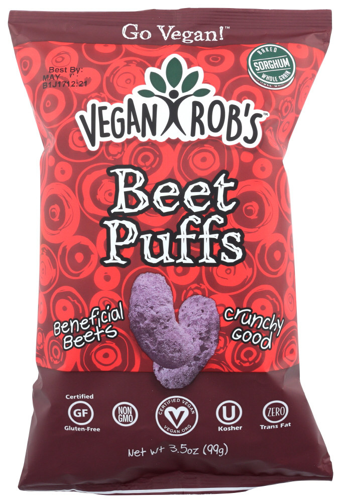 The beet puffs in their packaging
