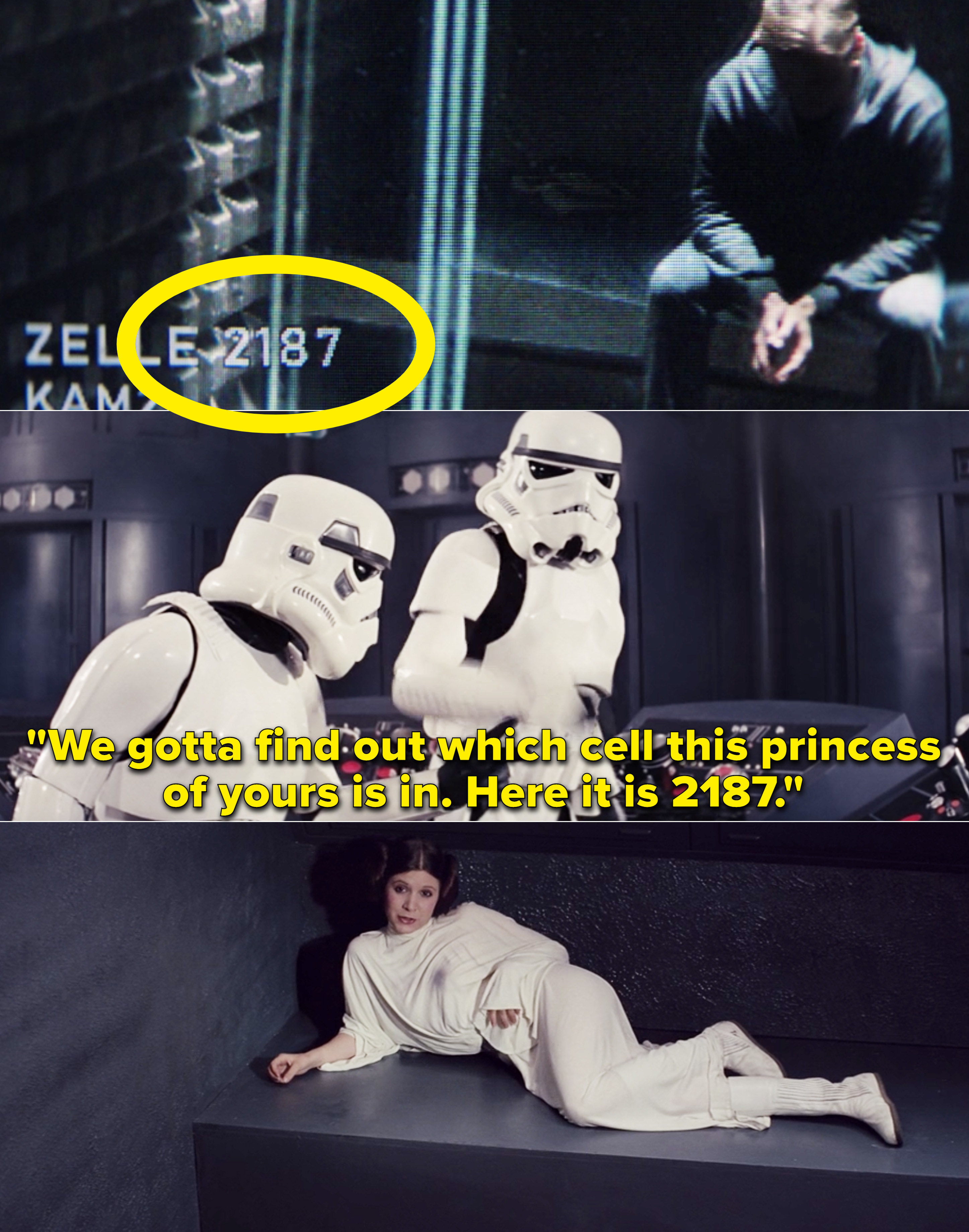 """Han as a stormtrooper saying, """"We gotta find out which cell this princess of yours is in. Here it is 2187"""""""