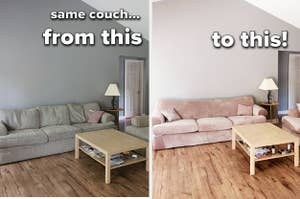 Reviewer before/after of their couch with the taupe velvet slip added. The after pic shows couches that look brand new and completely different