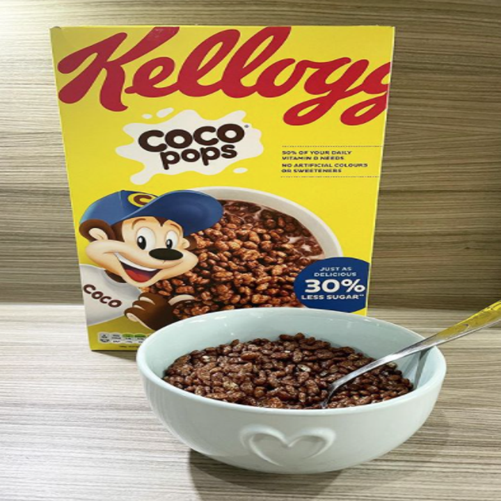 A box of Coco Pops chocolate puffed rice cereal