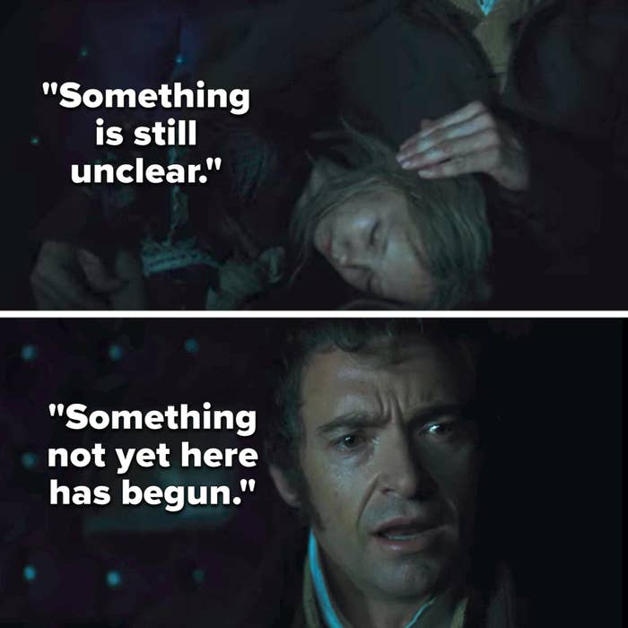"""Valjean singing """"Something is still unclear. Something not yet here has begun"""" as he strokes Cosette's hair and she sleeps in his lap"""